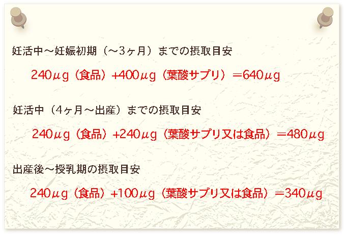 妊娠中のサプリからの葉酸摂取目安
